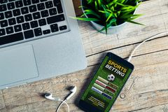 Free Sports Betting Cellphone App In A Mobile Screen. Stock Image - 148208261