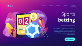 Sports betting concept landing page. Tiny people, businessman betting on football and bookmaker at big smartphone with score. Sports betting, bookmaker market royalty free illustration
