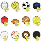 Sports betting icons. Collection of color sports balls with coins on top of them to symbolize sports betting Stock Photography