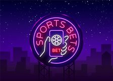 Sports betting is a neon sign. Design template, Neon style logo, bright banner, night advertising for your projects. Smartphone in your hand, online betting on royalty free illustration