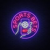 Sports betting is a neon sign. Design template, Neon style logo, bright banner, night advertising for your projects. Smartphone in your hand, online betting on Stock Photography