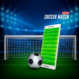 Sports betting online. Bets web banner concept. Soccer stadium background and smartphone with football field on screen and ball