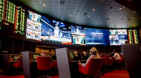 Sports betting room. Best for winnings. stock photo