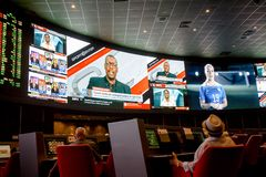Sports betting room. Best for winnings. Sports betting room. The place of great tourist attraction. 13.09.1018 Las Vegas, Nevada stock photography