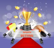 Sports betting vector poster banner design template. Gold cup on white podium with red carpet illuminated by floor spotlights. Sport balls, hockey puck, yellow stock illustration