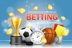 Sports betting vector poster banner design template. Soccer basketball baseball balls, stopwatch, hockey puck, yellow and red referee cards, trophy award cup royalty free illustration