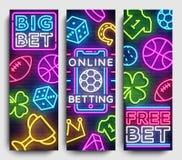 Sports betting vertical banner vector design template. Neon Signs, Light Banner, Bright Night Neon Advertising Bets. Gambling, Casinos. Vector illustration vector illustration