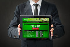 Sports betting website on tablet Stock Photography