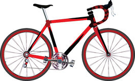 Sports bicycle. It is red a black sports bicycle Royalty Free Stock Photos
