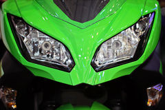 Motorcycle headlights. Sports bike lights, front view stock photos