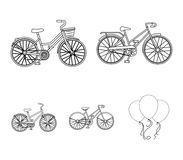 Sports bike and other types.Different bicycles set collection icons in outline style vector symbol stock illustration Royalty Free Stock Photo