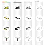 Sports bike, racing car, skateboard, extreme jumping. Extreme sport set collection icons in cartoon black monochrome Royalty Free Stock Images
