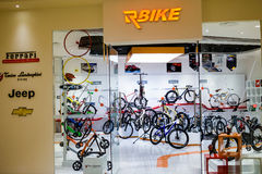 Sports bike store Stock Image