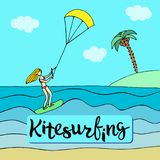 Sports blonde girl in pink swimsuit standing on the kiteboard. Kitesurfing or extreme modern sport. Vector illustration Stock Image
