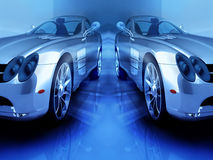 Sports blue cars Stock Image