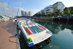Sports boat with open colorful deck on display at the Singapore Yacht Show 2013 Stock Images