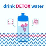 Sports bottle with water. Water for harmony and health with strawberry. Drink detox water. Illustration in blue color Royalty Free Stock Photography