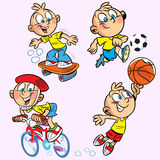 Sports boy. The illustration shows a boy who is engaged in several sports.Illustration done on separate layers, in a cartoon style stock illustration