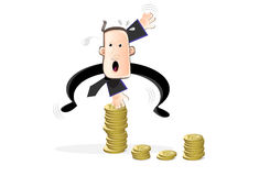 Sports in the business world. Man jumps over a high barrier of coins Stock Photography