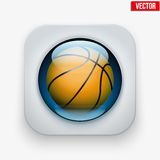Sports button with ball under glass for website or Royalty Free Stock Photo