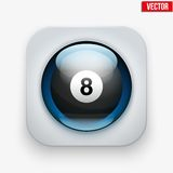 Sports button with ball under glass for website or Stock Photography