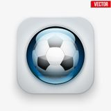 Sports button with ball under glass for website or Stock Photos