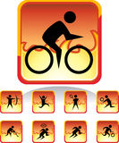 Sports Button - Fire. Set of 9 sports related web buttons - fire style Stock Image