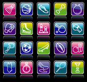 Sports buttons. Simple buttons of the sports goods and accessories Royalty Free Stock Photo