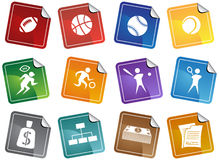 Sports Buttons - sticker. Set of 12 sports web buttons - sticker style Stock Photo