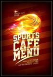 Sports cafe menu card with basketball ball in flame. Sports cafe menu card with basketball ball in a fiery flame Royalty Free Stock Photos