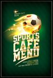Sports cafe menu card concept with soccer ball. Sports cafe menu card concept with fiery soccer ball Royalty Free Stock Photo