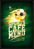 Sports cafe menu card with soccer ball in a flame. Sports cafe menu card with soccer ball in a fiery flame Stock Photo