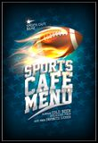 Sports cafe menu design concept with fiery leather rugby ball. And background with stars Royalty Free Stock Image