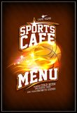 Sports cafe menu design with fiery basketball ball. Sports cafe menu design concept with fiery basketball ball Stock Photos