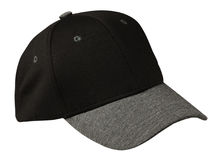 Sports cap isolated on a white background .black cap with gray visor.  Stock Photo