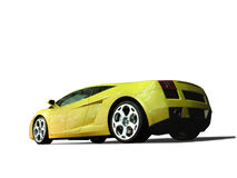 Sports Car. Five hundred of yellow horse power equal the new Lamborghini. (dynamic - low eye-level perspective stock photo