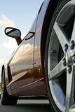 Sports Car. Corvette close up from rear wheel vantage point stock image
