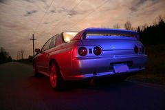 Sports Car. Japanese sports Car at night on a country road royalty free stock photo