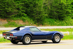 Sports Car. Blue Chevrolet Corvette, Stingray, parked in a rest area along I-75 Stock Images