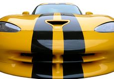 Sports Car. Front hood view of a yellow sports car Royalty Free Stock Images