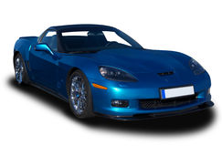 Sports Car. Blue Sports Car Isolated on White Stock Photo