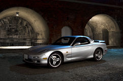 Sports car. A Mazda RX7 sports car parked up at night Royalty Free Stock Image