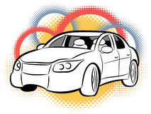 Sports Car. An illustration of a sports sedan on an abstract circular background Stock Photo
