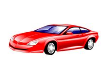 Sports Car. An illustration of a sleek red sports car Stock Photo