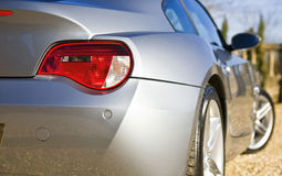Sports Car. Sliver Sports Car on drive stock images