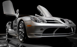 Sports car. Photo from low angle. With black backdrop royalty free stock images