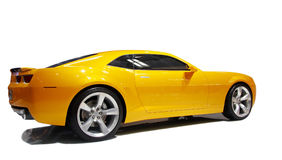 Sports car. Yellow Chevroler sports car isolated on white background Stock Photography