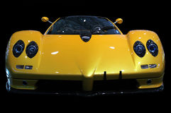 Sports car. Yellow sports car on black background Stock Photo