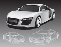 Sports car. On the gray background Royalty Free Stock Images