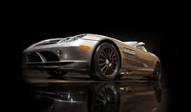 Sports car. Silver sports car on a black background Stock Photo